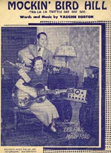 "The sheet music for ""Mockin' Bird Hill,"" by Les Paul and Mary Ford"