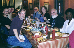 Members of the Doug Talley Quartet join Tom Ineck, Mark Radziejeski, Pamela Hatfield, Butch Berman and Grace Sankey Berman for dinner at Boss Hogg's in Topeka. [Photo by Rich Hoover]