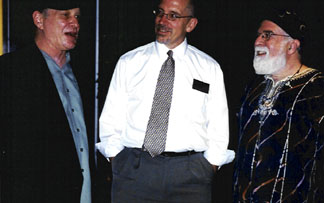 Drummer Jim Eriksen, TPAC's Mark Radziejeski and Butch Berman chat after the show. [Photo by Rich Hoover]