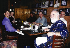 Members of the Dan Thomas Quintet dine with TPAC's Mark Radziejeski. [Photo by Rich Hoover]