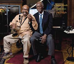 "James Moody and Hank Jones on the cover of ""Our Delight"""