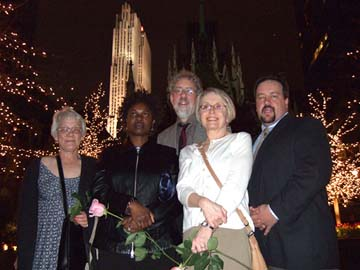 Kay Davis, Grace Sankey-Berman, Tom Ineck, Mary Jane Gruba and Tony Rager in New York City for Norman Hedman benefit in spring 2008. [Photo by Russ Dantzler]