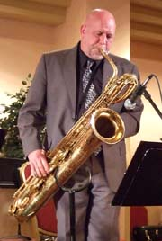 Scott Vicroy on baritone sax [Photo by Tom Ineck]