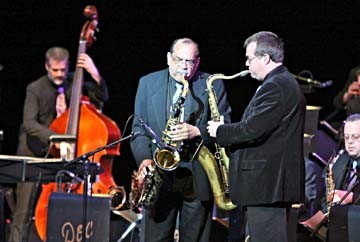 Tenor saxophonist Ernie Watts (center) with the Doc Severinsen band [Courtesy Photo]