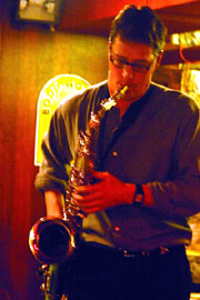 Vogt blowing tenor sax on a gig [Photo courtesy Andrew Vogt]