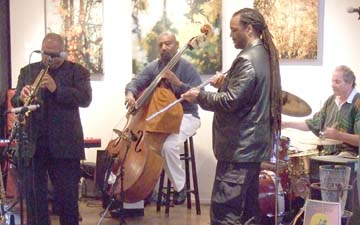 Azar Larwrence, Henry Franklin, Craig Handy and Myron Cohen at Palette Art Cafe [Photo by Tom Ineck]
