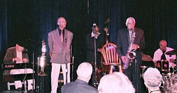 Legends of Jazz (from left) Larry Vuckovich, Julian Priester, John Heard, Hadley Caliman and Eddie Marshall [Photo by Dan DeMuth]