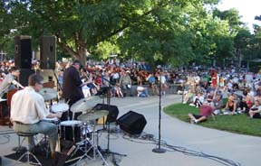 John Riley Trio plays to large crowd at Jazz in June. [Photo by Tom Ineck]