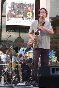 Andrew Vogt on tenor sax [Photo by Tom Ineck]
