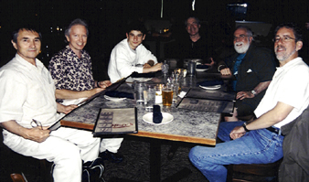 Emil Djangirov (from left), Gerald Spaits, Eldar, Tommy Ruskin, Butch Berman and Tom Ineck at Misty's [Photo by Rich Hoover]