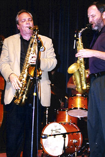 Ken Peplowski on tenor (left) and Brent Jensen on alto face off. [Photo by Tom Ineck