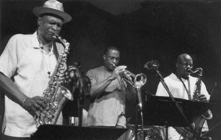 Bobby Watson (from left), Darryl White and Gerald Dunn at the Blue Room in Kansas City [Photo by Beverly Rehkop]