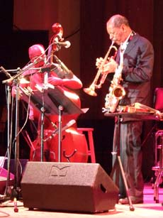 Ornette doubles on trumpet and alto sax. [Photo by Tom Ineck]