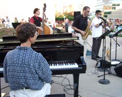 Dan Thomas band at Jazz in June with Roger Wilder at left [Photo by Tom Ineck]