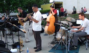 Thomas band with drummer Brandon Draper at right [Photo by Tom Ineck]